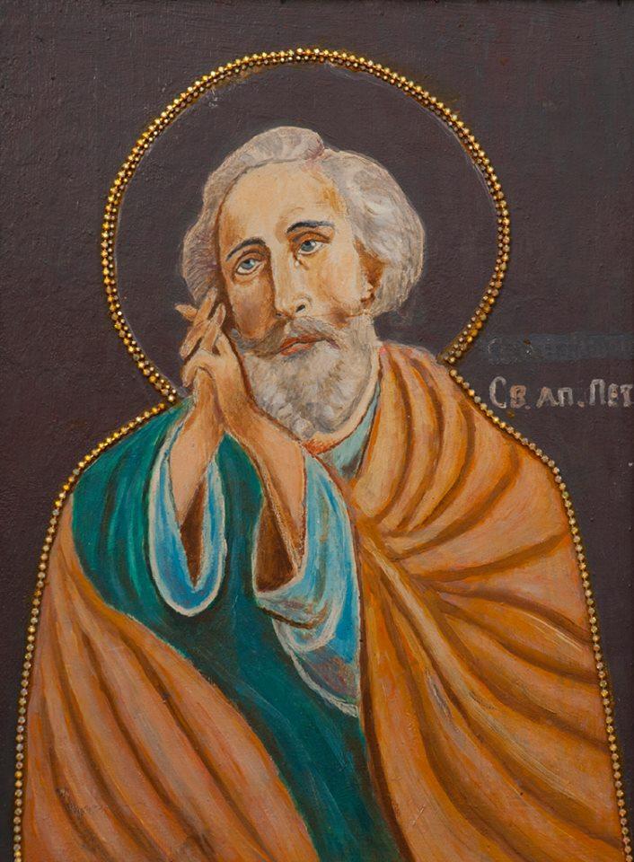 Иконасв. апостола Петра, украшенная батюшкой