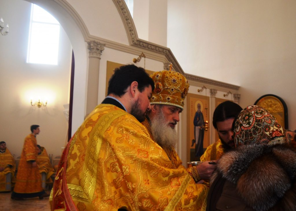 Причащает епископ Дамиан