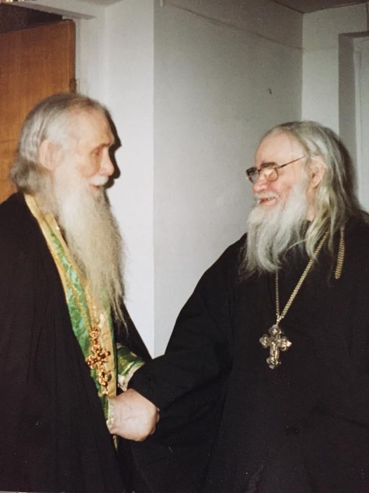 Архимандрит Адриан на встрече со своим духовником архимандритом Кириллом (Павловым)