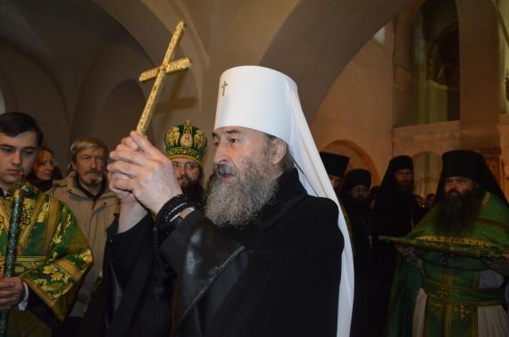 Древний монастырь св. Михаила на Зверинецкой горе в Киеве. Блаженнейший Митрополит Онуфрий служит в монастыре